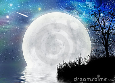 Surreal Moon scape fairy background