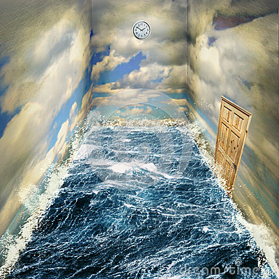 Free Surreal Room Of Sea And Sky, Trapped In A Dream Of Time Royalty Free Stock Images - 57748929