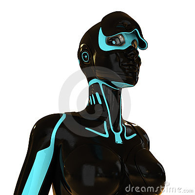 Free Surreal Stylish Robot With Opened Visor Royalty Free Stock Images - 16590779