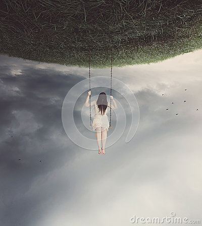 Free Surreal Swing With Woman Stock Photos - 34865103