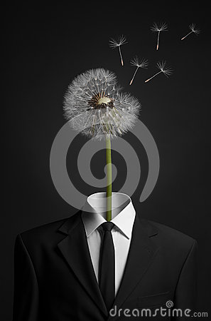 Free Surrealism And Business Topic: Dandelion Flower Head Instead Of A Man In A Black Suit On A Dark Background In The Studio Royalty Free Stock Photography - 63203277