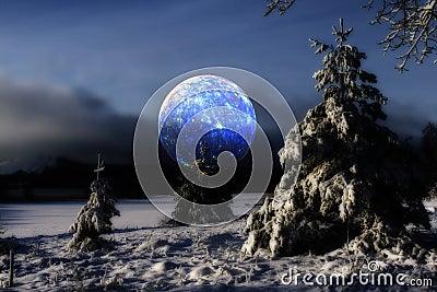 Surrela moon over cold winter landscape