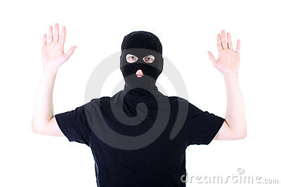The surrendered criminal in a mask