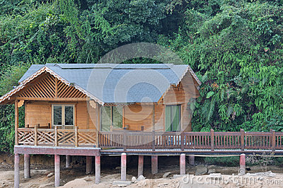 Surrouding与绿色植物的小的木房子