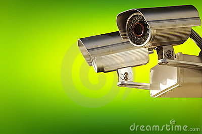 Surveillance camera. Active screening background.