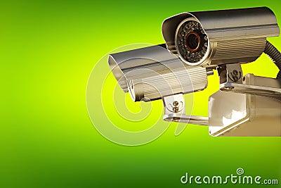Surveillance camera. Active screening background.