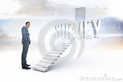 Survey against white steps leading to closed door