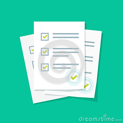 Free Survey Or Exam Form Paper Sheets Pile With Answered Quiz Checklist And Success Result Assessment Royalty Free Stock Image - 87427986