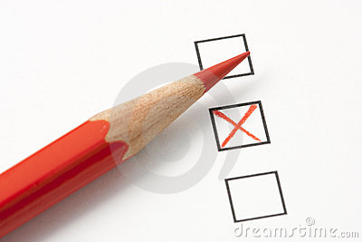 Survey with Red X and Red Pencil