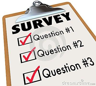 Survey Word Checklist Clipboard Polling Customers Feedback