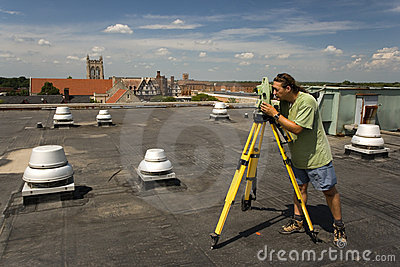 Surveying rooftop
