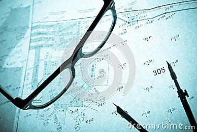Surveyor s plan, circle and retro glasses