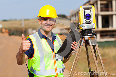 Surveyor thumb up