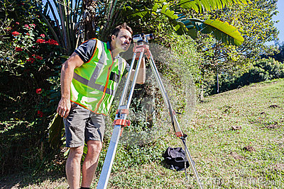 Surveyor Tripod Lens Civil Engineering Editorial Photo
