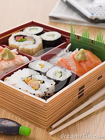 Free Sushi And Sashimi In A Take Away Bento Box Royalty Free Stock Images - 6879169