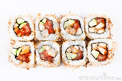 Sushi with avocado, fish and red caviar top view