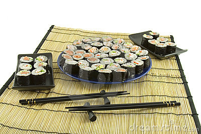 Sushi on a bamboo mat