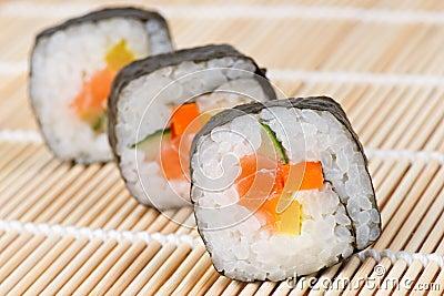 Sushi on bamboo mat