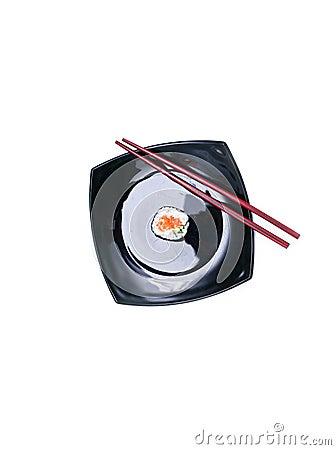 Sushi on black plate