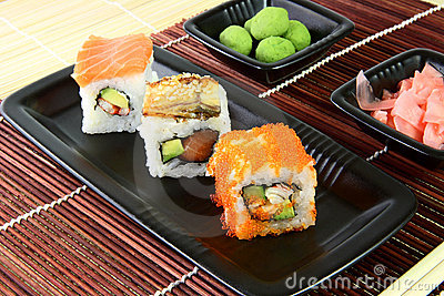 Sushi in the brown napkin