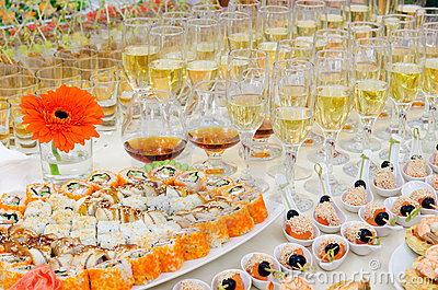 Sushi buffet table