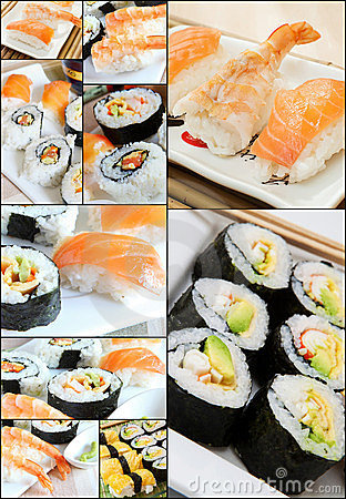 Free Sushi Collage Royalty Free Stock Images - 24168289