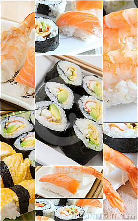 Free Sushi Collage Royalty Free Stock Photos - 24336308