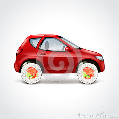Free Sushi Delivery Car Concept Vector Illustration Royalty Free Stock Photo - 54507055