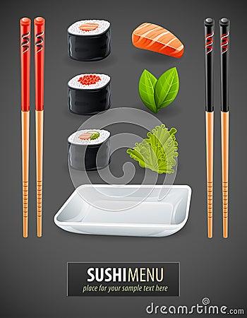 Sushi details of japanese cuisine