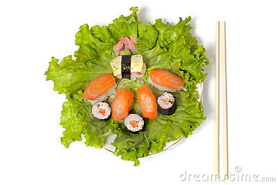 Sushi dish closeup isolated