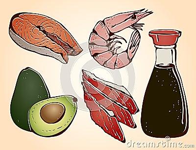 Sushi ingredients set