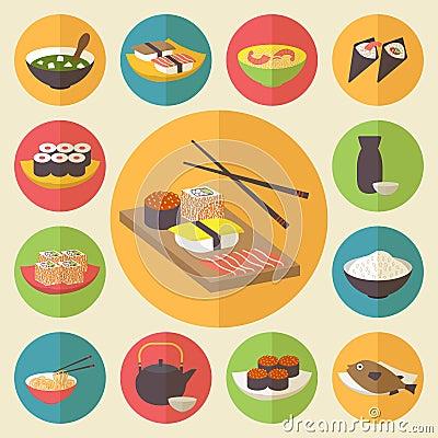 Free Sushi, Japanese Cuisine, Food Icons Set, Flat Stock Photos - 42363983