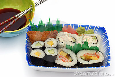 Sushi lunch box with soya sauce