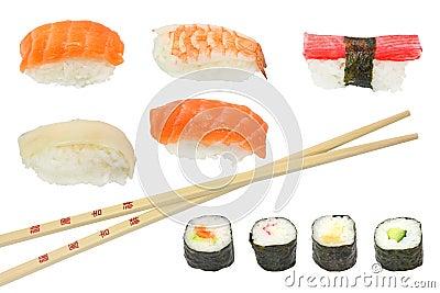 Sushi and maki mixed