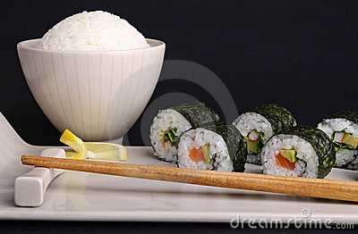 Sushi maki roll and rice