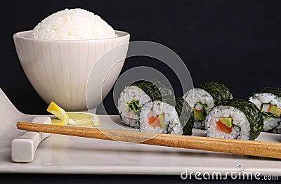 Sushi maki roll and rice