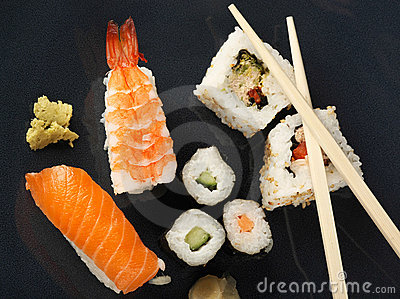 Sushi meal top view