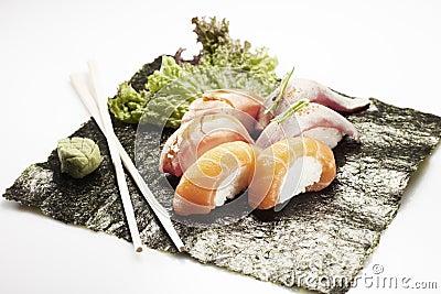 Sushi menu with six nigiri Stock Photo