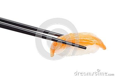 Sushi nigiri with black chopsticks