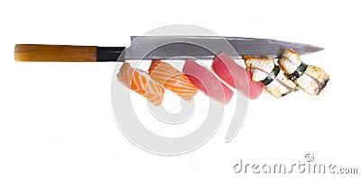 Sushi nigiri with japan knife