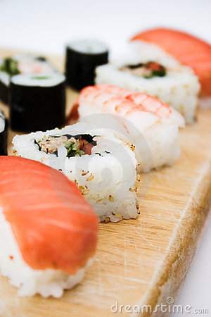 Sushi platter close up