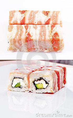 Sushi roll in bacon