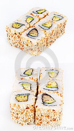 Sushi roll with eel and avocado