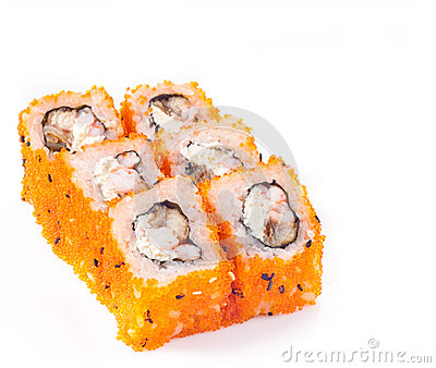 Sushi roll with eel and cheese