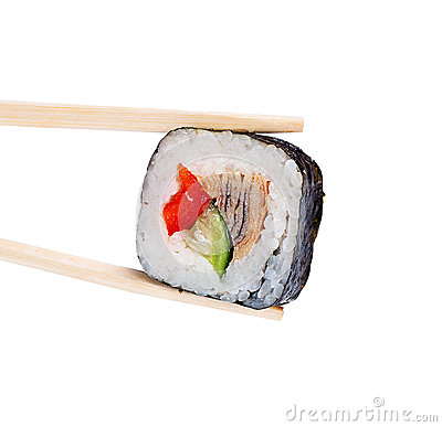 Sushi roll with eel, sweet pepper and cucumber