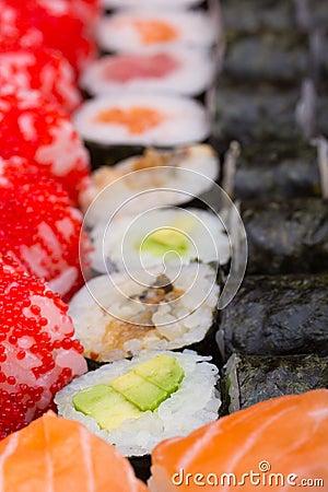 Sushi roll made dish