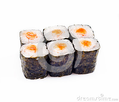 Sushi roll over white