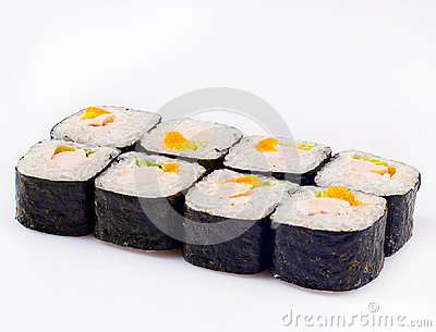 Sushi roll with peach and chicken