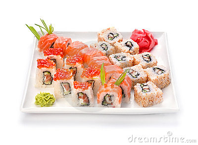 Sushi and roll in plate