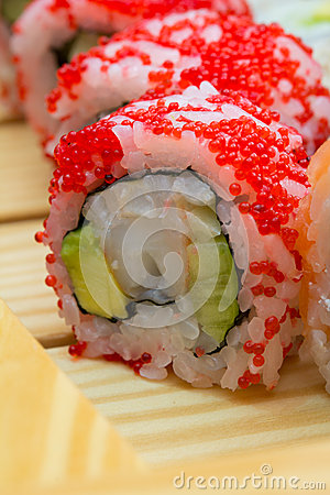 Sushi roll with red tobiko